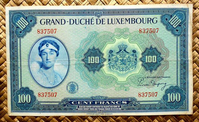 Luxemburgo 100 francos 1944 anverso
