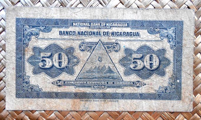 Nicaragua 50 centavos de cordoba 1938 reverso