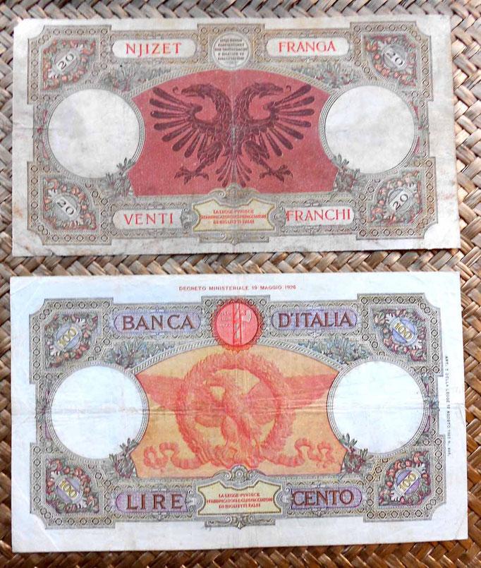 Albania 20 franga 1939 vs. Italia 100 liras 1935 reversos