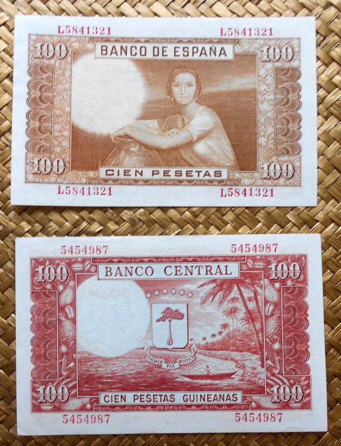 España 100 pesetas 1953 vs Guinea Española 100 pesetas 1969 reverso