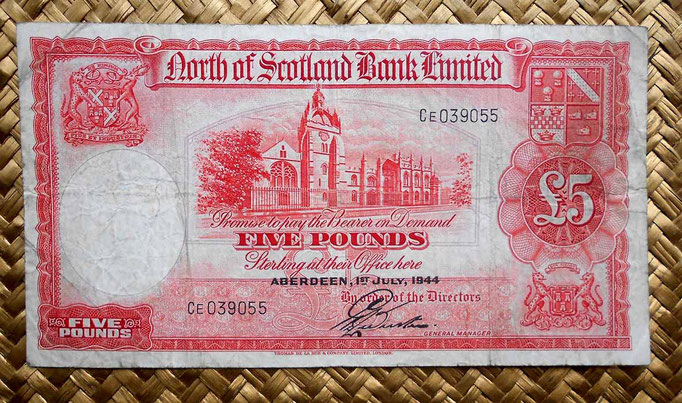 Escocia North of Scotland Bank Limited 5 libras 1944 (180x98mm) anverso
