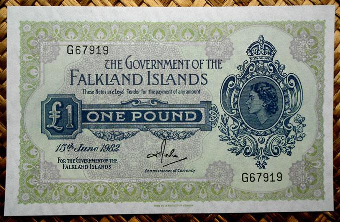 Islas Malvinas 1 libra 1982 (145x92mm) pk.8e anverso