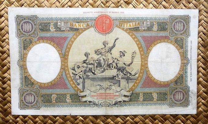 Italia 1000 liras 1935 (220x124mm) reverso