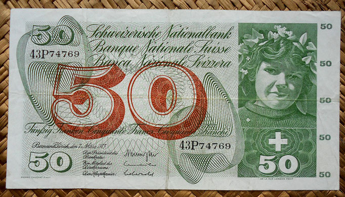 Suiza 50 francos 1973 (174x95mm) anverso