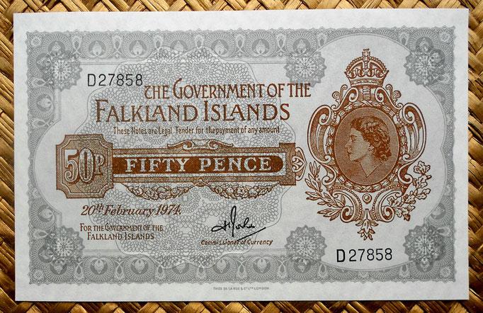 Islas Malvinas 5 libras 1975 (145x92mm) pk.9b anverso