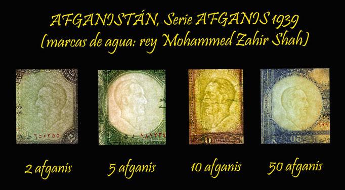 Afganistan serie afganis 1939 marcas de agua