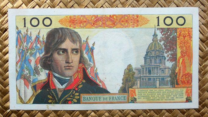 Francia 100 nuevos francos 1961 (172x92mm) reverso