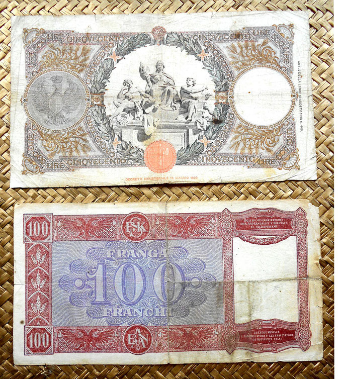 Italia 500 liras 1941 vs. Albania 100 frangas 1945 reversos