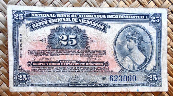 Nicaragua 25 centavos de cordoba 1938 (115x60mm) anverso