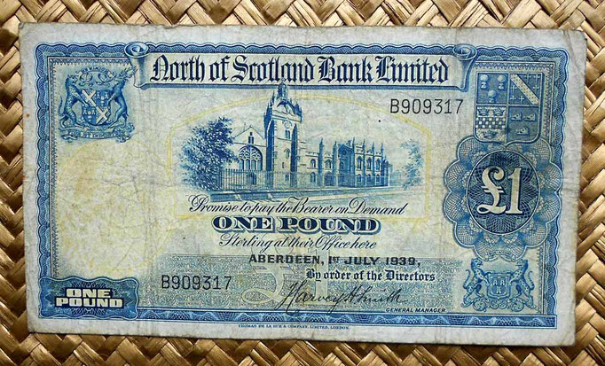 Escocia North of Scotland Bank Limited 1 libra 1939 (150x82mm)anverso