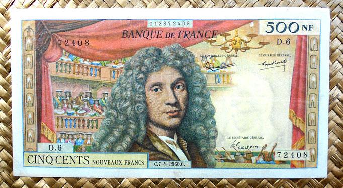 Francia 500 nuevos francos 1960 (182x98mm) anverso