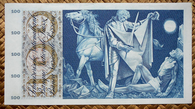 Suiza 100 francos 1969 reverso