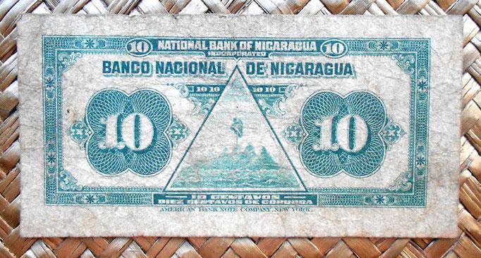 Nicaragua 10 centavos de cordoba 1918 reverso
