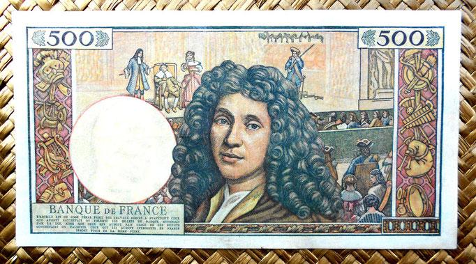 Francia 500 nuevos francos 1960 (182x98mm) reverso