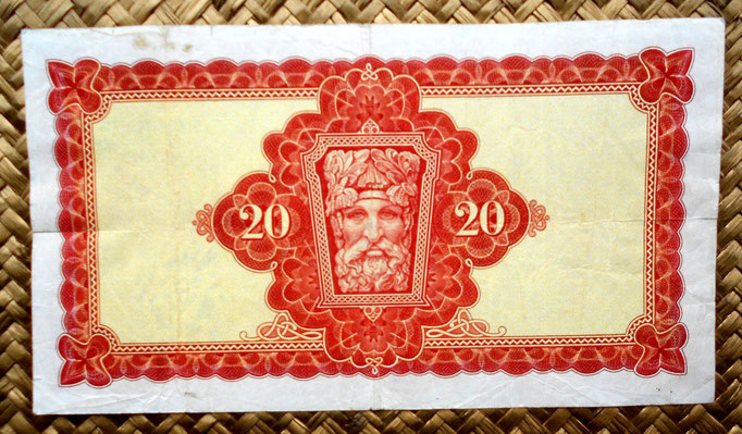 Irlanda 20 pounds 1976 (205x113mm) reverso