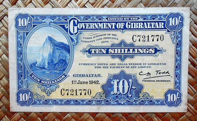 Gibraltar 10 chelines 1942 (130x76mm) pk. 14b anverso