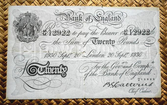 Reino Unido 20 pounds 1930 -Britannia serie A- uniface