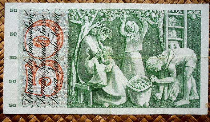 Suiza 50 francos 1973 reverso