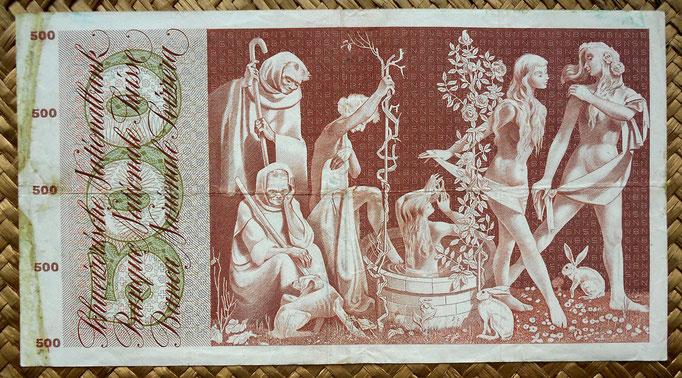 Suiza 500 francos 1968 reverso