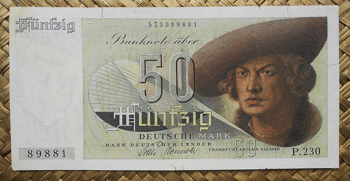 Alemania Occidental 50 marcos 1948 BdL (150x75mm) pk.14a anverso