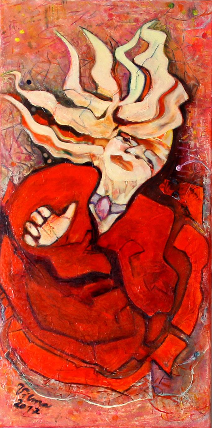 Frau in Rot, Acryl, 40x80