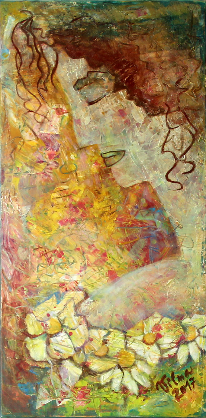 Frauenprofil, Acryl, 40x80