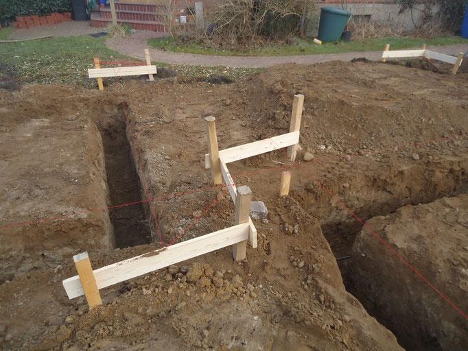 Schnurböcke zum einmessen der Fundamentgräben