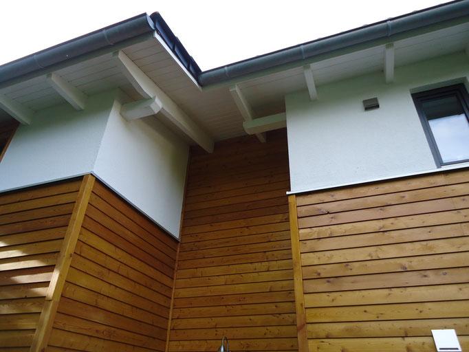 Lärcheholz / Putz Kombifassade mit Dachüberstand