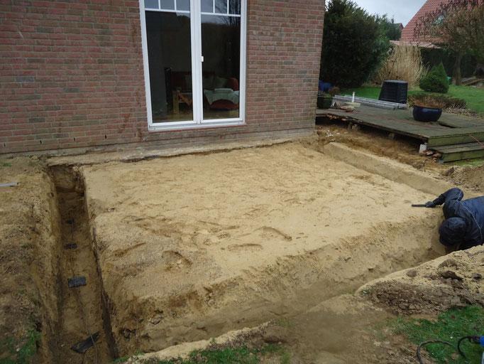Sandplatte und Aushub der Fundamentgräben durch einen Tiefbaufachbetrieb