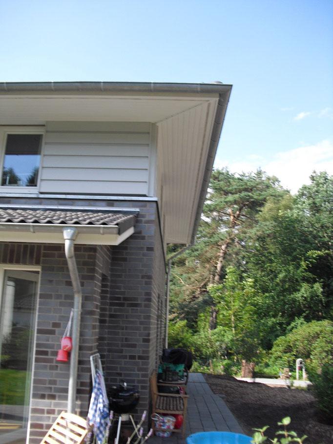 Gesimskasten und Holzfassade am Dachgeschoß