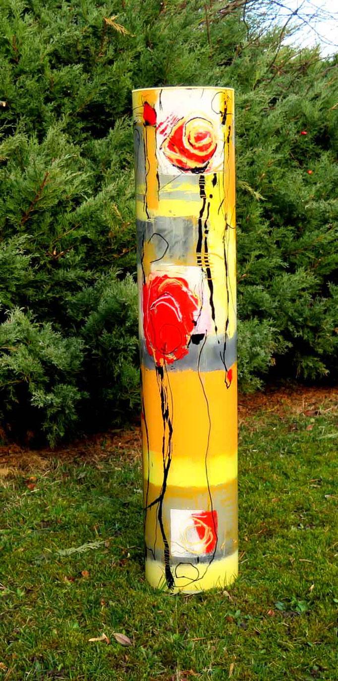 Glaszylinder Rose, 1 m hoch, 20 cm Durchmesser