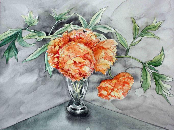 Un vase de pivoines