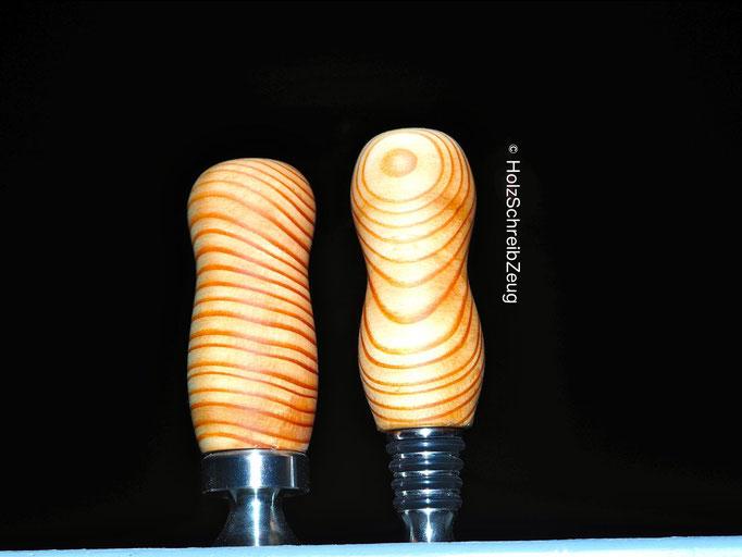 Flaschenöffner u. Flaschenverschluss aus Lärchenholz
