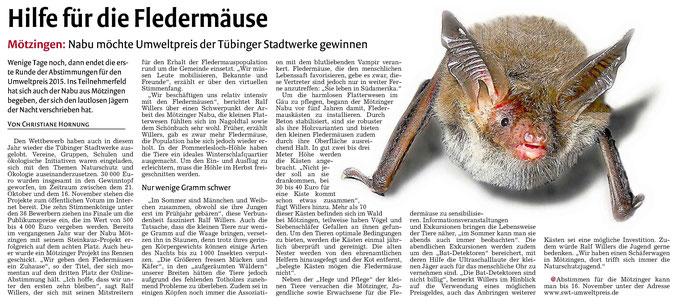11.11.15 SWT Umweltpreis Fledermaus - Gäubote