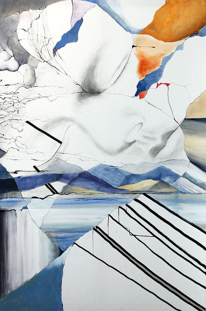 """Plensa überall"", 80x120cm, Graphit/Tusche/Acryl, 2016"
