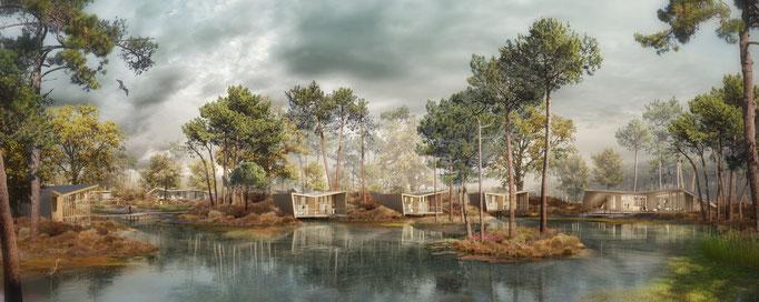 Eco-lodges, Les Echasses à Saubion. Agence d'architecture Patrick Arotcharen. Lauréat concours, 2ème prix de la construction bois.