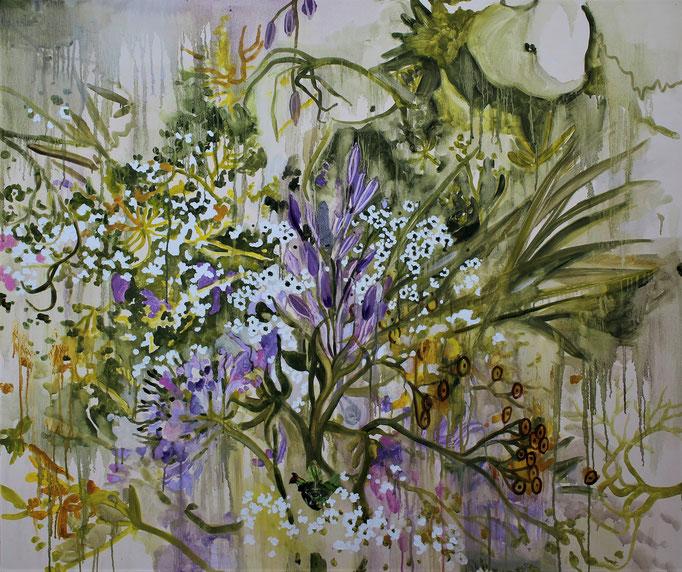 Le radici hanno occhio olio e collage su tela cm 100 x 120
