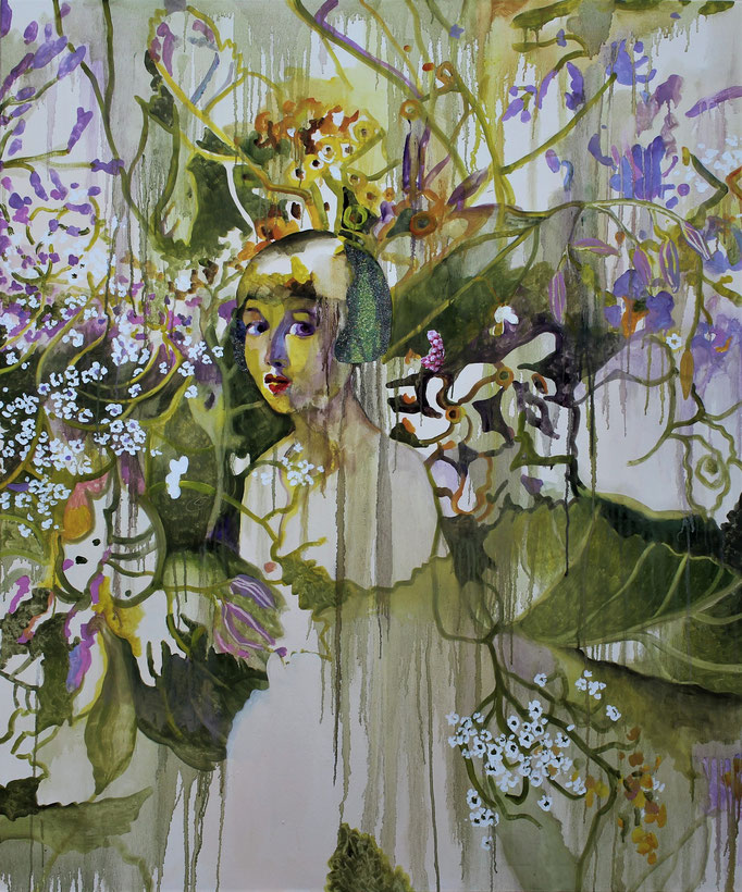 Omaggio a Casorati ritratto di Renato Gualino olio e collage su tela cm 120 x 100
