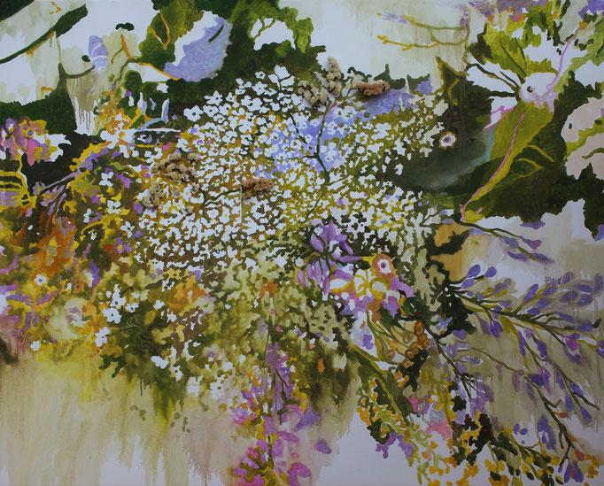 Gruccione olio e collage su tela cm 120 x 150