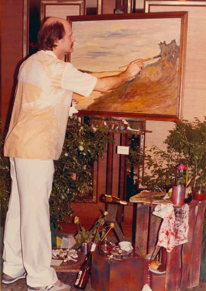Pedro Meier Exhibition – »Scenes of Thailand« 1986 – Narai Gallery Silom Road Bangkok – Opening speech by Mr. André Regli, Cultural Attaché, Embassy of Switzerland Bangkok – Pedro Meier paints an oil painting – © Pedro Meier Multimedia Artist – Niederbipp