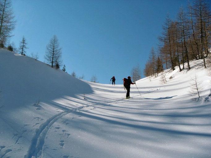 Aufstieg vom Skigebiet Goldeck Richtung Eckwand.