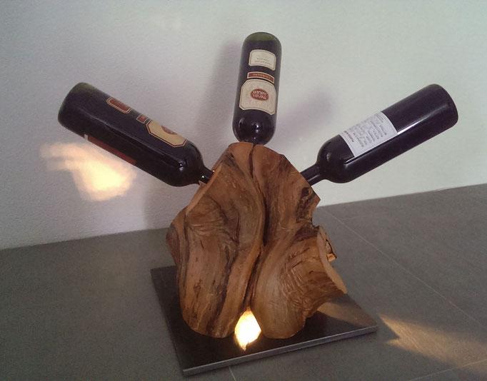 Weinständer Apfelholz mit LED Beleuchtung