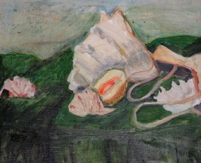 1990   Muscheln auf grünem Tuch 34x40 Öl