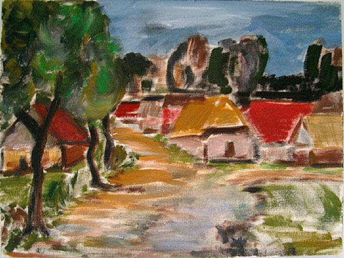 1990  Im Dorf 27x36 Öl