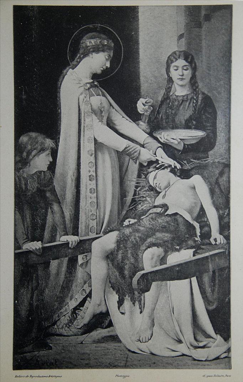 Albert Aviat, demi-frère du peintre, Eau forte d'après Elisabeth de Hongrie de Jules Aviat
