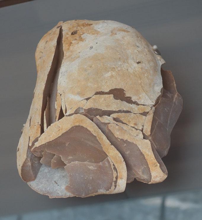 Nucleus de silex et éclats remontés. Musée national de la préhistoire