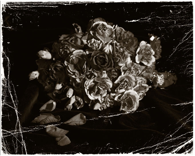 Vanitas 04monochrome still life of flowers and petals with a distressed finish