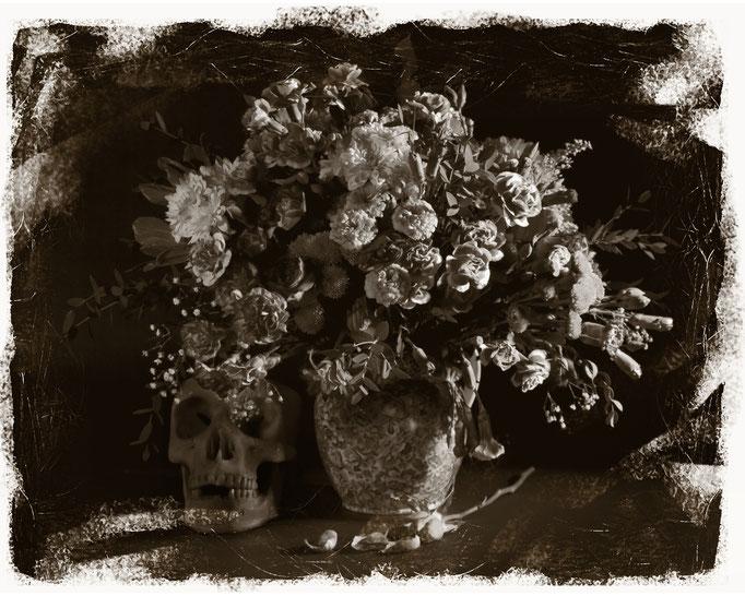 Vanitas 02, monochrome still life of flowers and skull