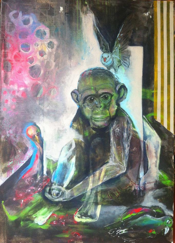R-Evolution -  Acryl, Kohle, Kreide auf Leinwand   140 cm x 100 cm