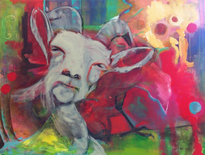 Bock -  Acryl, Kohle, Kreide auf Leinwand   60x80 cm